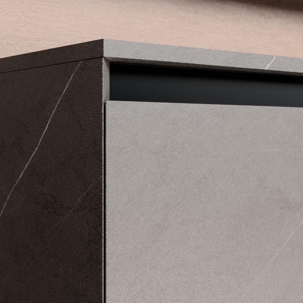 Fermeture des portes et des tiroirs à 45° sur tous les côtés