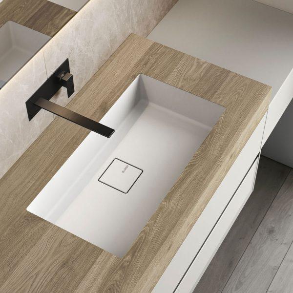 Plan de toilette en HPL avec vasque intégrée en Mineralsolid