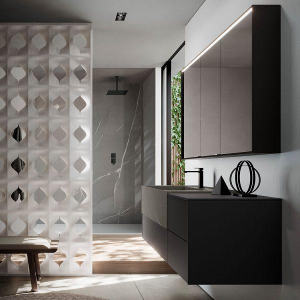 Miroir armoire en aluminium avec éclairage intégré